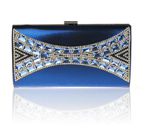 2016 High Quality Blue Ladies Zircon Wedding Evening Bag Clutch Handbag Bride Party Purse Mini Makeup