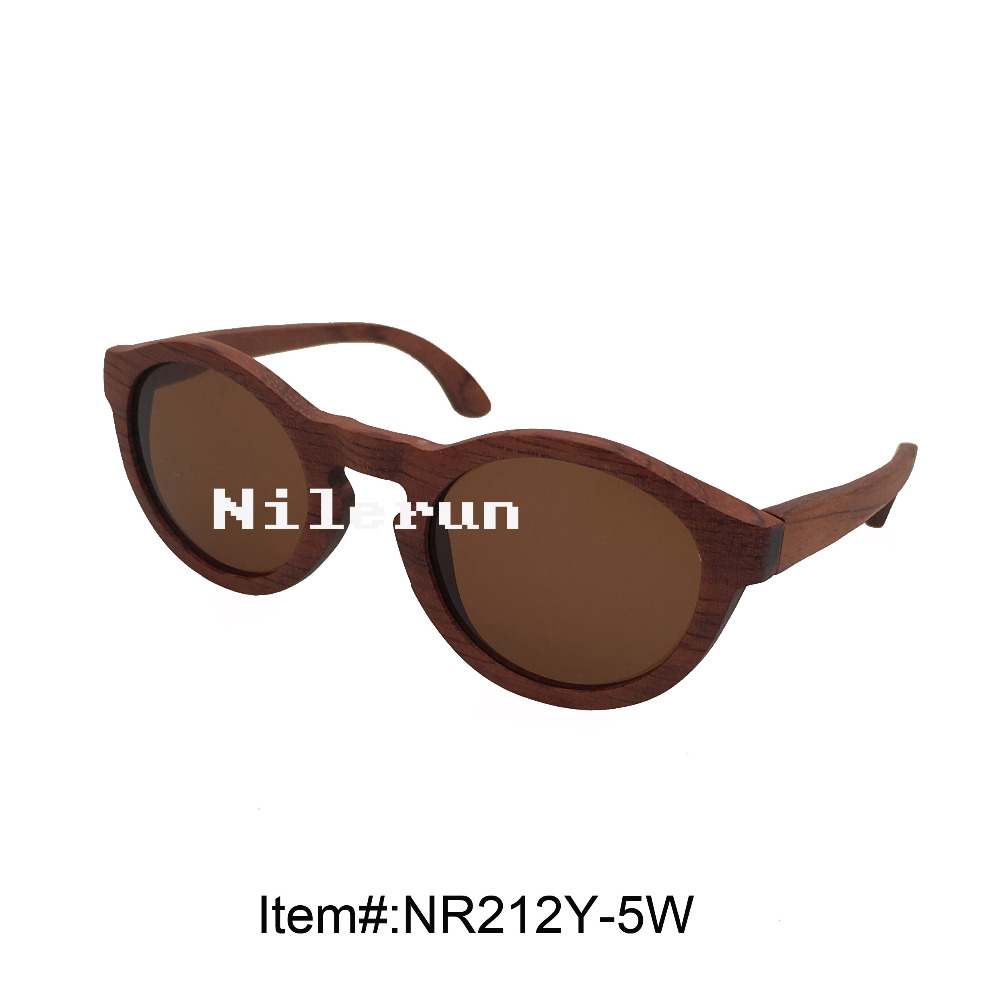 unisex men women round rose wood sunglasses