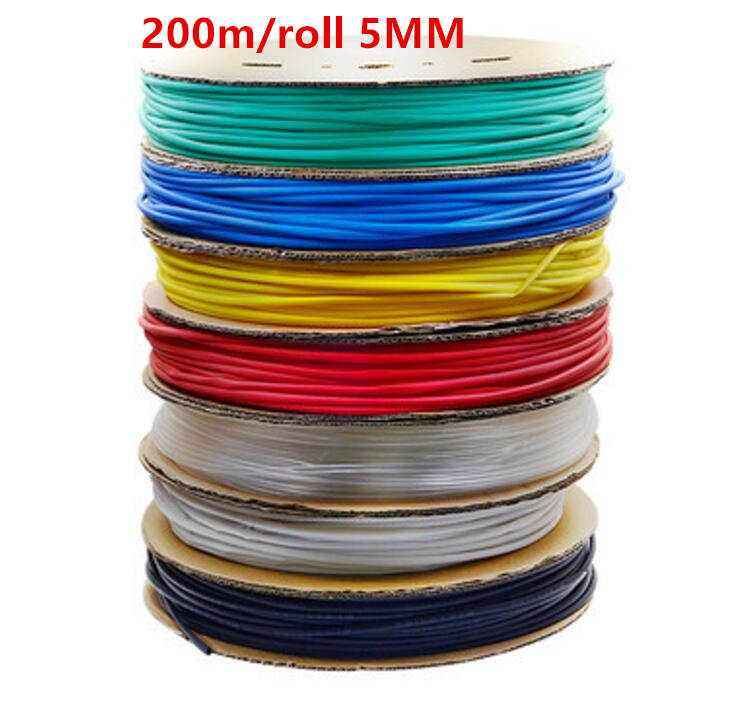 100m/roll 5MM Heat shrinkable tube heat shrink tubing Insulation casing 100m a reel