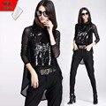Europa marca negro 2015 nuevas mujeres suelta moda de encaje con lentejuelas chaleco + de manga larga acoplamiento de la camiseta ocasional O camisa cuello Tops