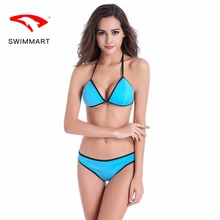 SWIMMART bikini sexy halter black edging two-piece swimsuitwear women swimsuit high waist brazilian swimming suit