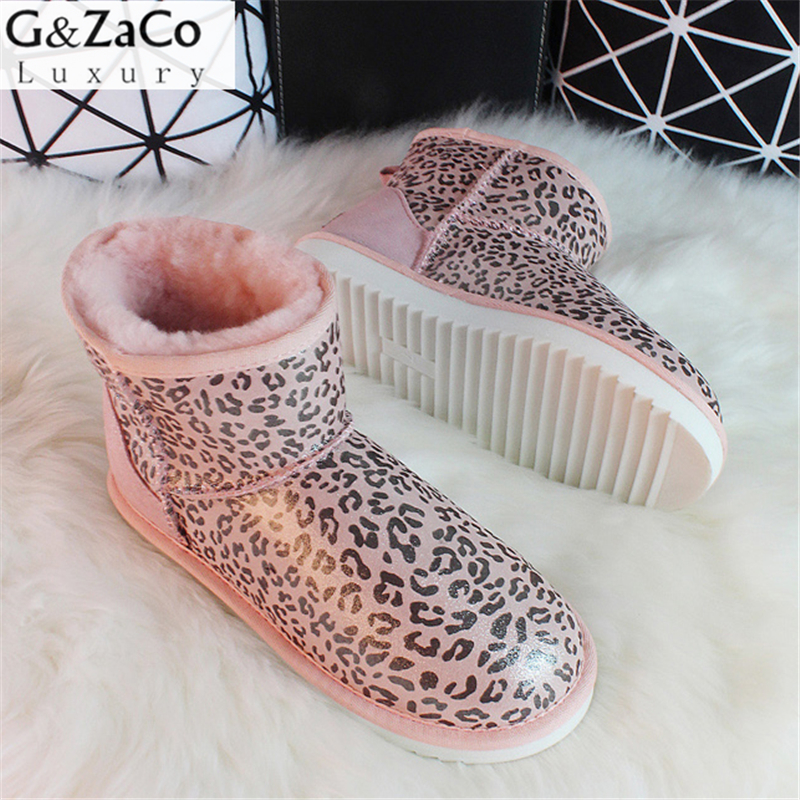 G&Zaco Sheepskin Snow Boots Women Genuine Leather Short Sweet Ankle Boots Winter Wool Sheep Fur Boots Girl Winter Low Shoes