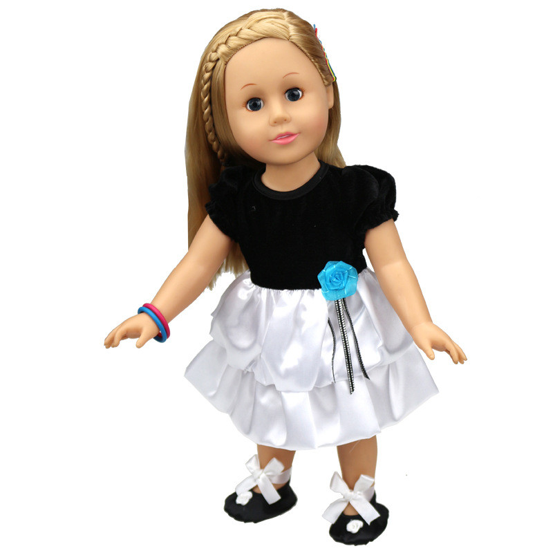bede2daa4 Fit 45cm American Girl Doll White And Black Princess Style Clothes ...