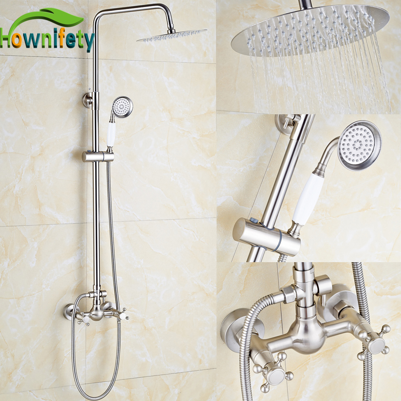 Brushed Nickel Bathroom Shower Set Faucet 8 Inch Shower Head with Hand Shower Solid Brass