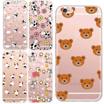 Cute Animal Teddy Bear Bull Terrier Dog Hedgehog Cow Hood Phone Case For iphone 5 5s SE 6 6s 7 plus Case Lovely Capa Cover Shell kreg corner clamp
