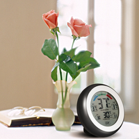 Cute Indoor Digital Thermometer Hygrometer Temperature Gauge Humidity Meter Clock Wall Max Min Value Trend Display