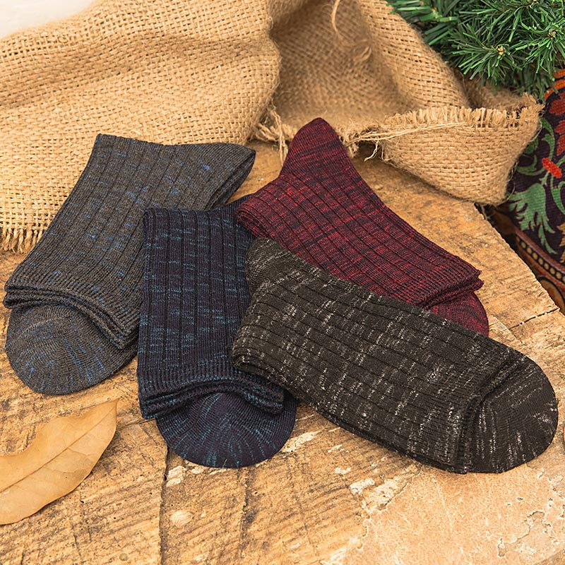 Mantieqingway Fashion Cotton Socks for Mens Adult Business Wedding Dress Leisure Sock Breathable Winter Warm Long Tube Socks