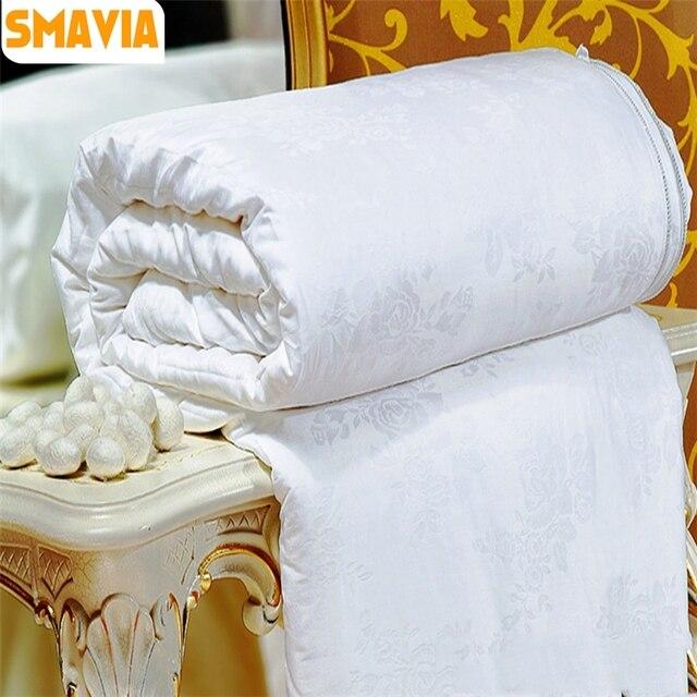 SMAVIA Chinese Silk Comforter 100% Mulberry Silk Quilt 100% Cotton Satin Jacquard Fabric Four Seasons Blankets Accept Custom