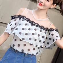 poka dot  short sleeve Women Ruffle blouse shirts Round Neck Sexy transparent shirts cold shoulder 2018 sexy Party tops  809J3