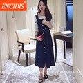 2017 mais recente das mulheres vestuário de moda verão denim dress a linha azul do vintage midi fino longas calças de brim vestidos casuais coreano sweet q56