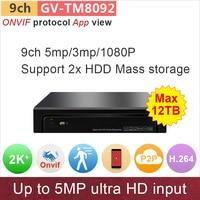 H 264 ONVIF NVR 9ch 8ch DVR 5mp 4mp 3mp 1080P Input Network Video Surveillance Cctv