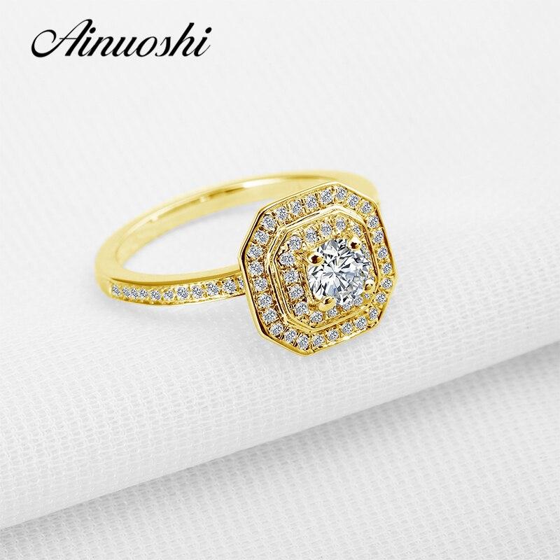 AINUOSHI Твердые 10 К желтого золота Halo Кольцо для Для женщин Имитация Сона Ювелирные изделия с алмазами Обручение свадебные женские Joaillerie Bague