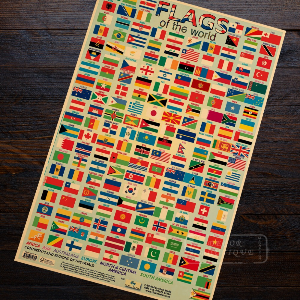 Poster Education Aid. Map of Asia With Flags from A5 to A0 Size