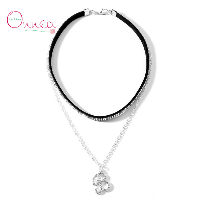 onnea layer choker necklace letter b necklace filled with small crystal pendents b alphabet silver plated
