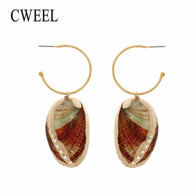 CWEEL Shell Ohrringe für Frauen 3 Pairs Sets Sommer Hochzeit Erklärung Schmuck Korean Fransen Tropfen Ohrringe
