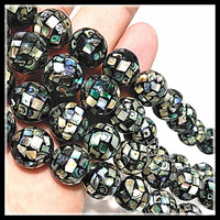 black abalone shell round ball paull shell strings luxury beads for diy jewelry findings and making accessories 8mm 12mm