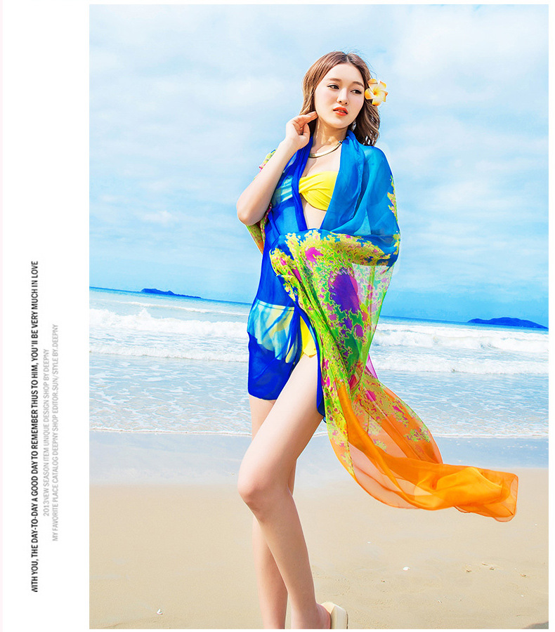737ab67c34127 140x190cm Pareo Scarf Women Beach Sarongs New Summer Chiffon Scarves  Geometrical Design Swimsuit Cover Up Bikini Dress Plus Size-in Women s  Scarves from ...