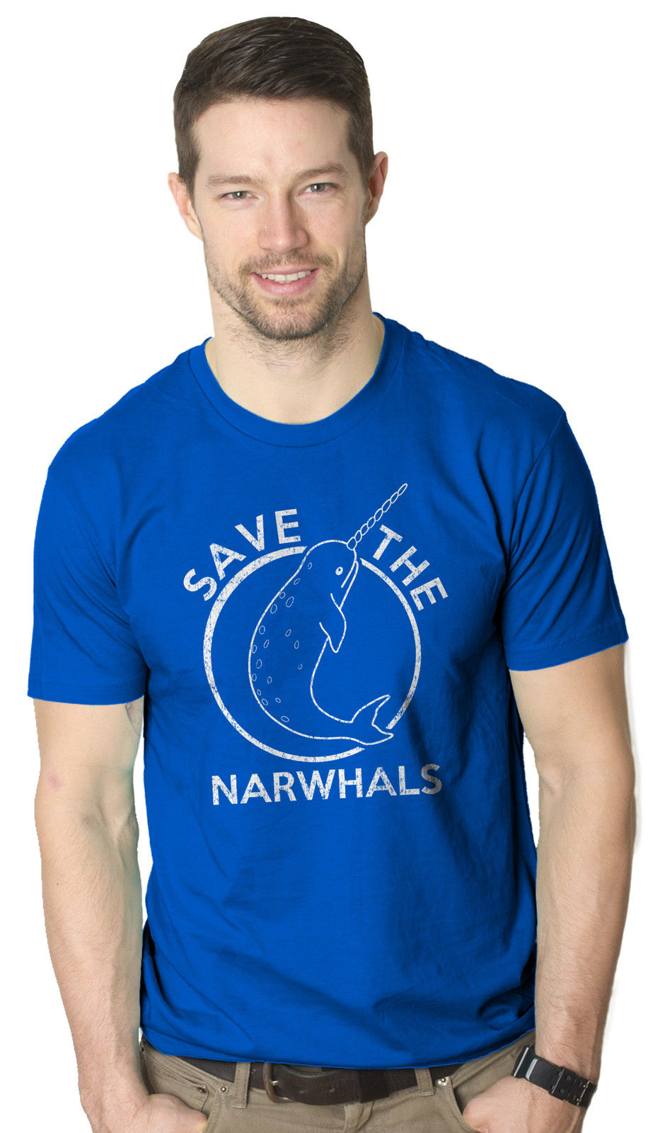 Save The Narwhals Tshirt Funny Narwhal Unicorn Shirt Harajuku Tops t shirt Fashion Classic Unique free shipping in T Shirts from Men 39 s Clothing