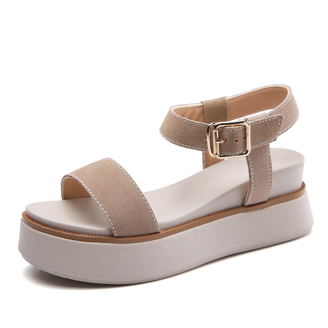 92663e35e7cf0 Rimocy 2018 Women Sandals Suede Leather Wedges Summer Sandals Ladies Casual  Gladiator Platform Sandals Comfortable Shoes Woman