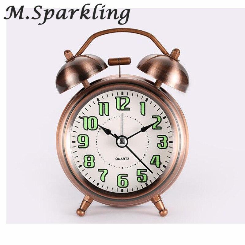 M.Sparkling Metal Creative Small Alarm Clock Bedside Bedroom Children Quiet Fashion Table Clock Super Large Ringtones