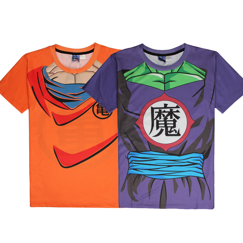 Anime Dragon Ball Z Cosplay Super Saiyan Son Goku Piccolo 3D T-Shirt Men Costume Fitness Tees Short Sleeve Tops Jersey