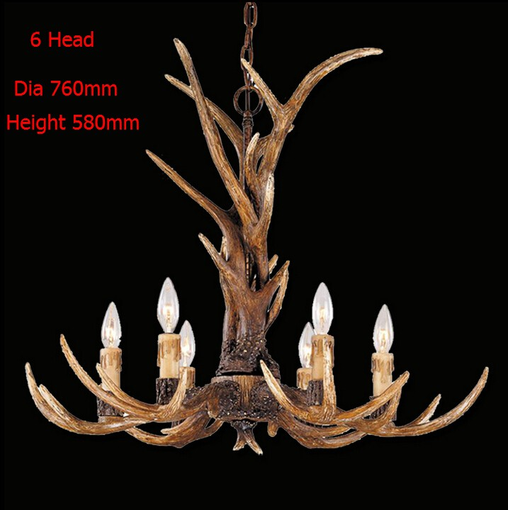 где купить Europe Country 6 Head Candle Antler Chandelier American Retro Resin Deer Horn Lamps Home Decoration Lighting E14 110-240V дешево