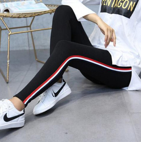 2018 Spring Sweatpants Women Casual Harem Pants Loose Trousers For Women Black Striped Side Sweat Pants Female Plus Size M-5XL