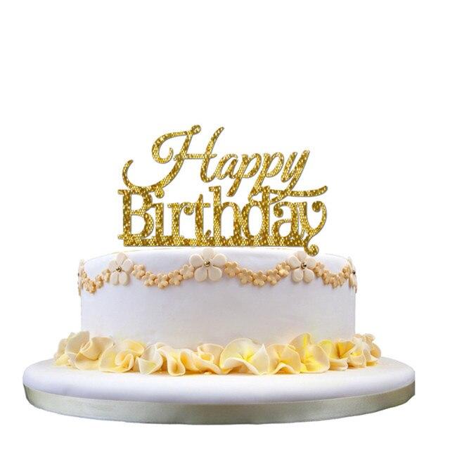 Kids Happy Birthday Acrylic Cakes Topper Glitter Gold Silver Balck ...