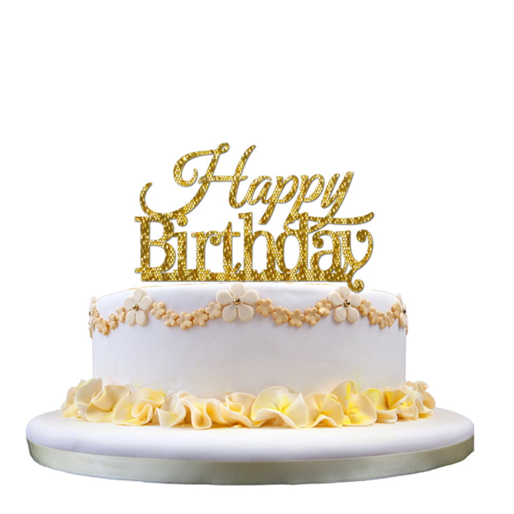 Kids Happy Birthday Acrylic Cakes Topper Glitter Gold Silver Balck Cake Stand Topper for ...