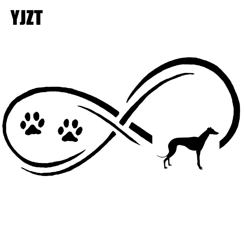YJZT 17.7*8.9CM Greyhound Dog Eternity Paw Print Car Styling Classic Cartoon Decoration Stickers Decals C6-1083