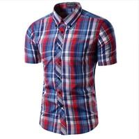 2018 Новое поступление Для мужчин рубашка Camisas Социальное maseulina Мужская мода плед футболка с коротким рукавом мужская повседневная рубашка Chemise Homme M-2XL