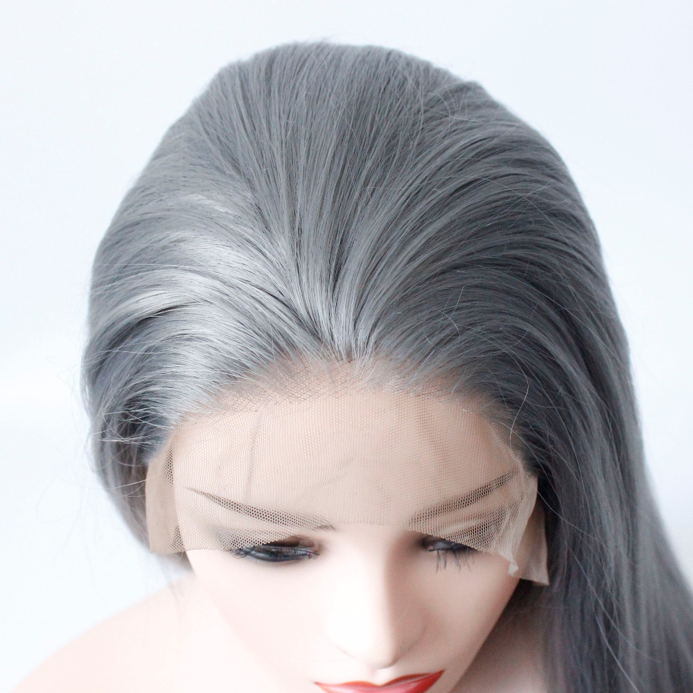 Long Gray Straight Synthetic Lace Front Wig Dark Grey Soft Natural Hairline Heat Resistant Glueless Synthetic Hair Wigs-6