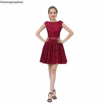 Forevergracedress Real Picture Burgundy Cocktail Dress Fashion Backless Lace Short Homecoming Party Gown Plus Size