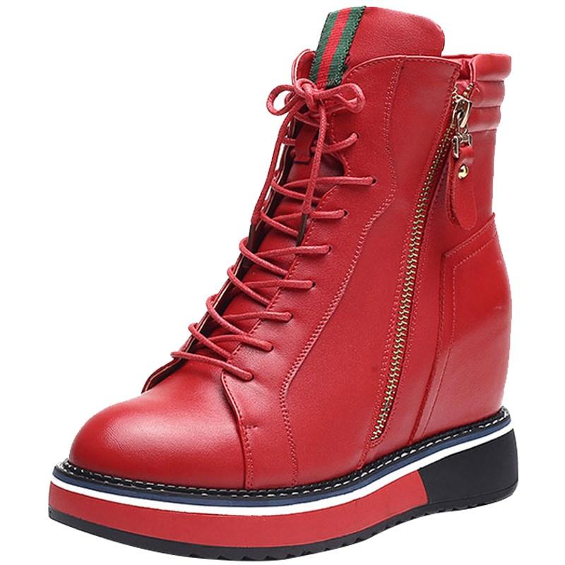 1 Británico De Zapatos Cuero Nuevos Botas 2019 Mujer La 4 7 Grueso 3 Martin Terciopelo Plano Fondo 5 6 Altura 8 Aumento Invierno 2 gq4x56wF