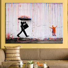 Frameless Printing Abstract poster wall art Canvas prints Colorful Rain Painting artwork for Walls living room