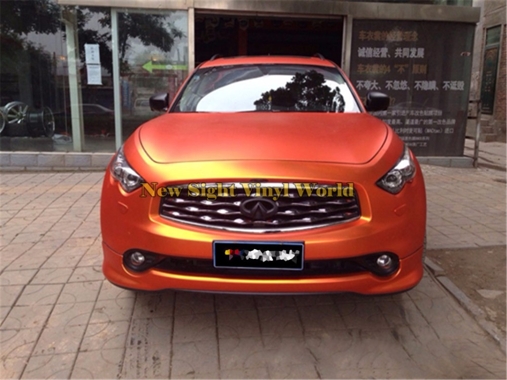 High Quality Matte Chrome Orange Car Vinyl Orange Matt Chrome Car Wrap Vinyl Air Free For Car Decals Size:1.52*20M/Roll