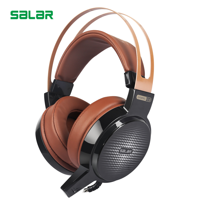Salar High Quality Wired Headphones With Microphone For Computer Laptop PC Foldable Gaming Headset Led Light Gamer Big Earphone vibration joystick wired usb pc controller for pc computer laptop for winxp win7 win8 win10 for vista black gamepad
