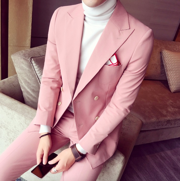 2019 Printemps costumes hommes Pour Le Mariage Coréenne Mode 3 Pièces Mens Rose Double Breasted Costumes Slim Fit Smokings (Veste + pantalon + Cravate)