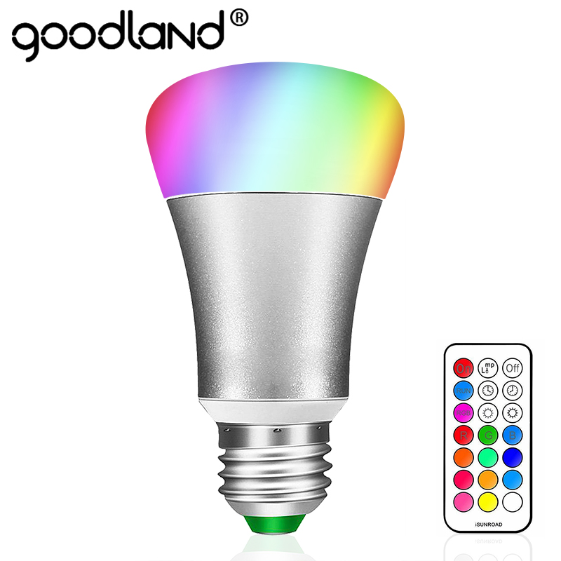 Goodland E27 RGB LED Lamp AC 85-265V LED Bulb 10W RGB LED Light 12 Colors with Remote Control Energy Saving Lighting for Bedroom rgb 10w led bulb e27 e14 ac85 265v led lamp with remote control led lighting multiple colour