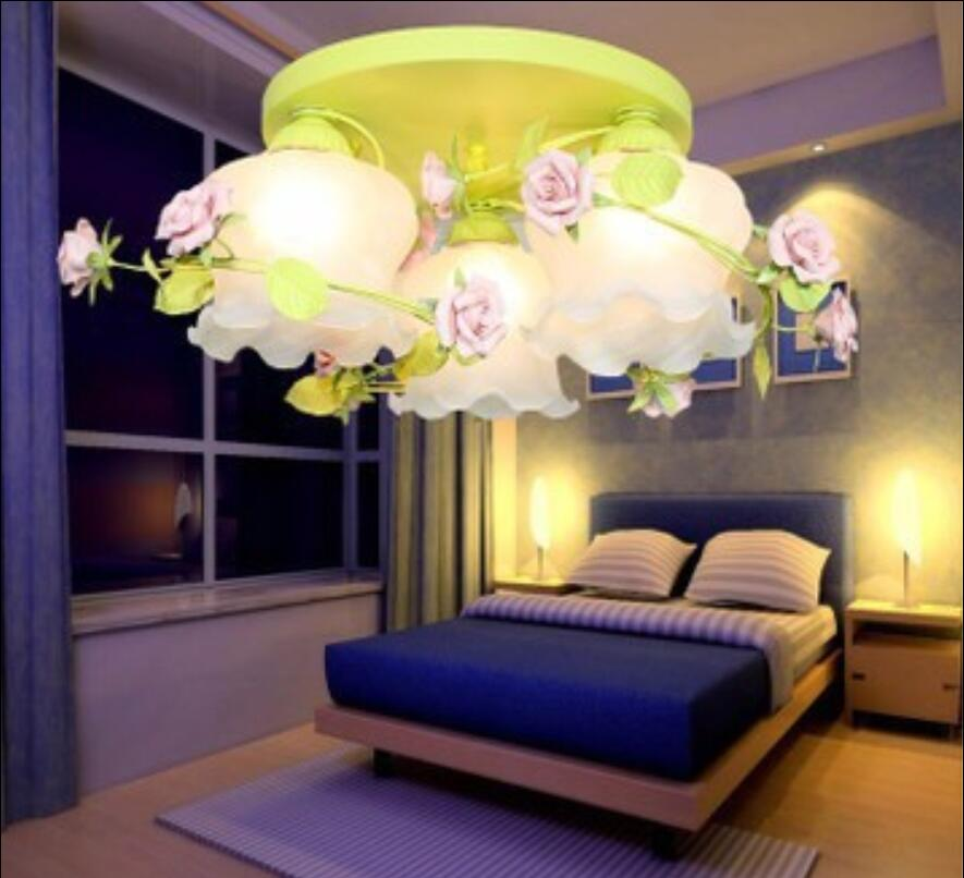 simple dinner lamp Flower rose LED pendant light cloud frosted glass lamp shade absorb sitting room bedroom petals lamp