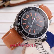New 43mm Bliger black dial stainless steel case miyota Automatic self wind miyota movement Mechanical Wristwatches