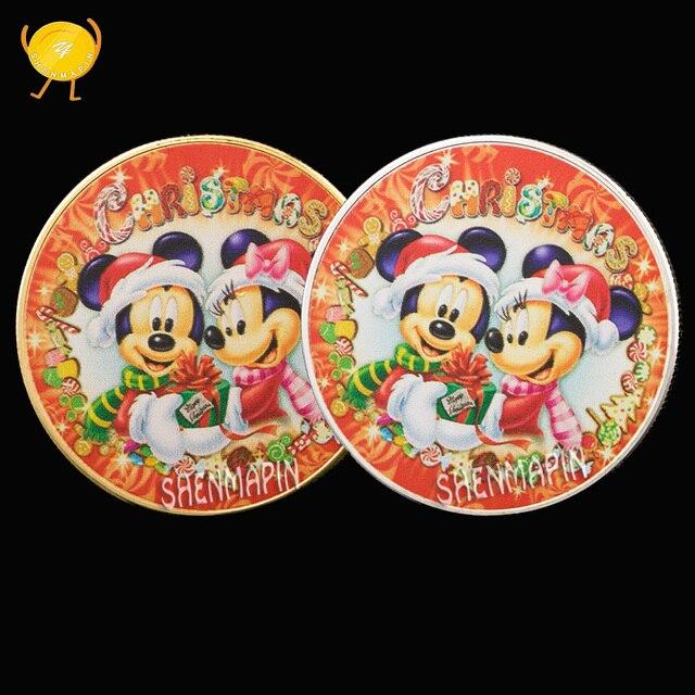Feliz Navidad Color dibujos animados moneda conmemorativa 999 oro plata decoración del hogar monedas coleccionables cumpleaños Regalos de Año Nuevo
