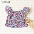 Girls Tops And Tees Off Shoulder Floral Girl Shirts European Style Strapless Girl Blouses Holiday Beach Children Clothing Flower