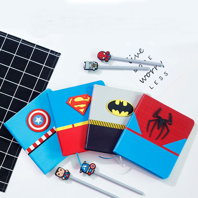 Cartoon Super Hero Series Notebook + Pen, Creative Boys School Gifts Planner Diary Set with Pens-in Notebooks from Office & School Supplies