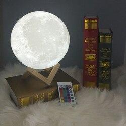 Светодиодный светильник с 3D-принтом в виде Луны, перезаряжаемый с помощью USB, сенсорный выключатель, ночник, украшение для спальни, подарок н...