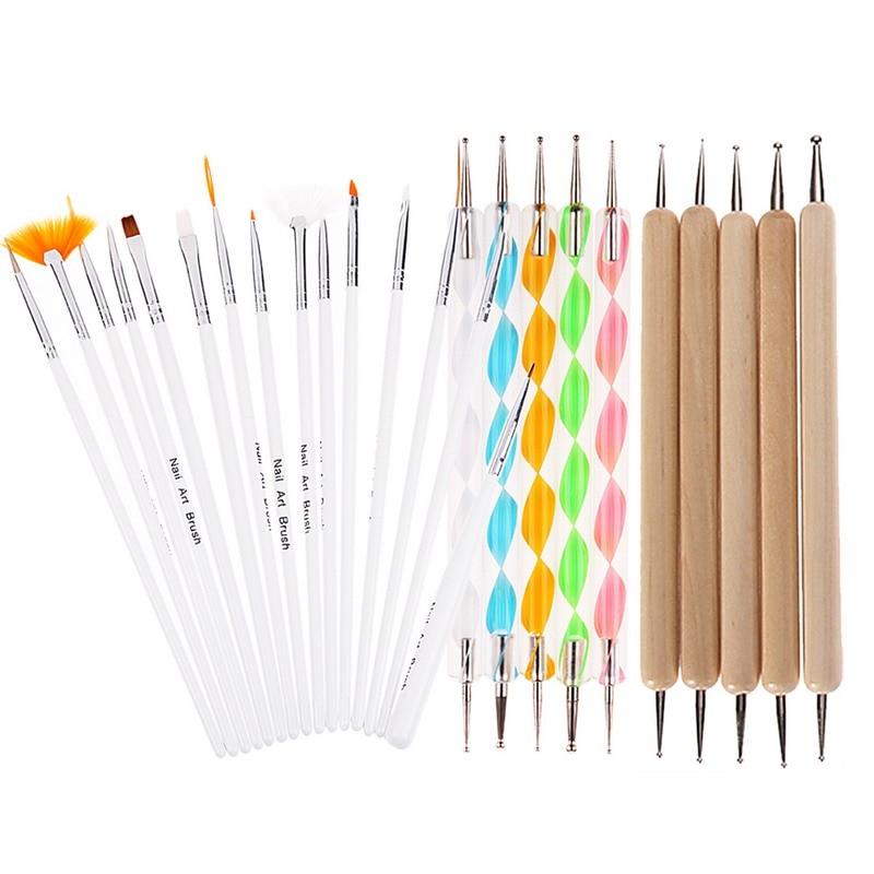 все цены на 20pcs/set Salon Nail Art Brushes UV Gel Painting Carving Brush Dotting Pen Manicure Polishing Dot Drawing Nail Art Decorations