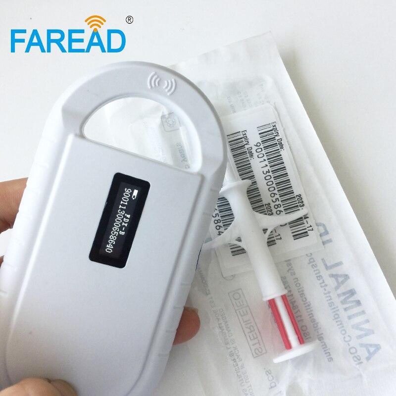 Livraison gratuite promotion de 1 pc animal FDX-B lecteur de puce pour ID scan et x40pcs 1.4x8mm microchip seringue implants pet chien poisson
