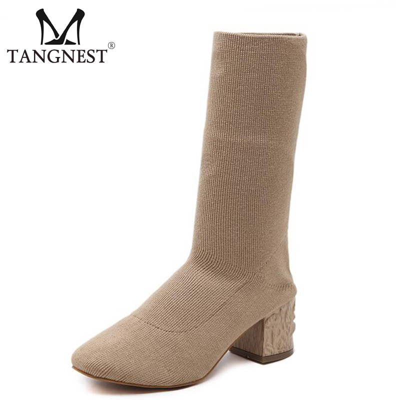 Tangnest Autumn New Women Boots Elegant Stretch Fabric Mid-Calf Boots For Female Fashion 6 CM High Heels Size 35~40 XWX6017