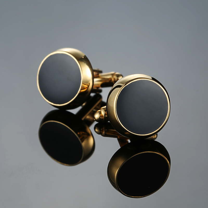 New Gold Colors Cufflinks High-quality Wedding Gifts Large Round Cufflink For Men High Quality Cufflinks Men Suit Accessories