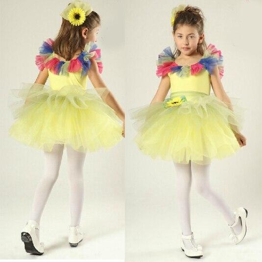 Free Shipping Yellow Fairy Flower Tutu Skirt Women Ballerina Dress Kids And Adult Professional Tutus